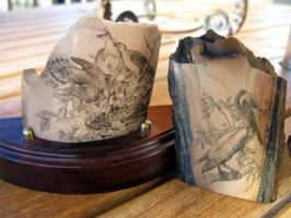 Brown Pelican and Morning Doves Scrimshaw by AethertechIndustries
