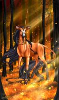Tarot Unicornis - The King of Staves by The13thBlackCat