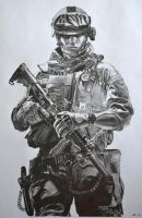Battlefield 3 Pencil drawing by al54xx