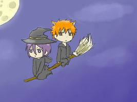 Commission:Witch-Ruki and Ichi-kitty! by PeachBerryDivision