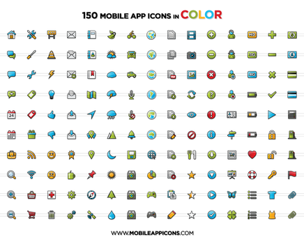 Mobile App Icons in Color by yt458
