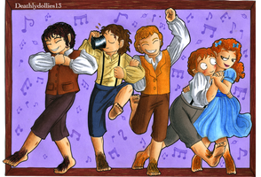 Dancing hobbits by Deathlydollies13