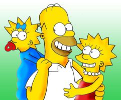 Homer, Maggie and Lisa Simpson by danidarko96