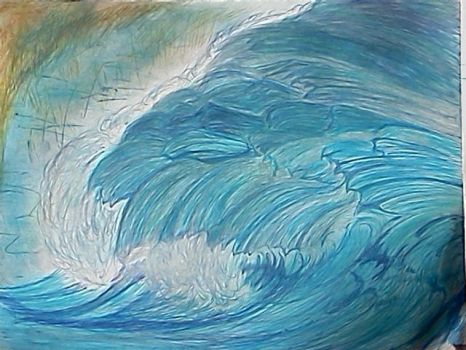 Pen and pastel waves by Angelica777