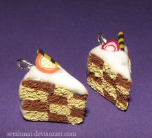 Checkerboard cake charms by Seralunai