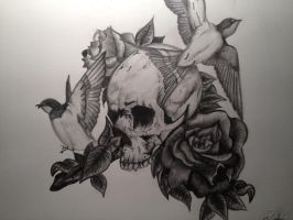 Skull Roses And Birds by pennybest