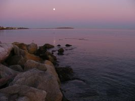 Early Evening Full Moon at the Sea by Limited-Vision-Stock