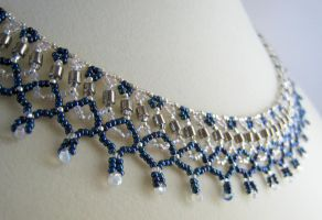 Blue Coronet Necklace by BeadfulStrings