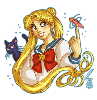 Sailor Moon: Usagi and Luna by daekazu