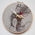 Persinette - Embroidered Linen Folk Wall Clock by MasonBee