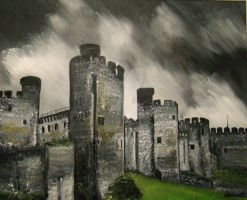 Welsh Castle in Storm by Schnellart