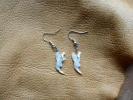 Rodent jaw bone earrings by lupagreenwolf