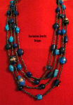 Blue European Glass Necklaces by BloodRed-Orchid