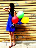 Blue dress and balloons by goodnightandgoodbye