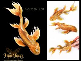 Golden Koi Sculpture by Hidden-Treasury