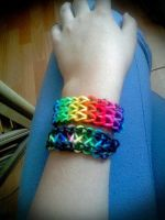 Two Rainbow Bancelets Loom Bands by CeriseEliCore