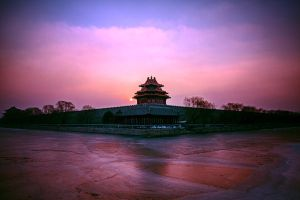 Sunrise in early morning winter Palace turret by sunny2011bj