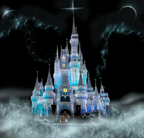 Castle Front View on Clouds 3 by WDWParksGal-Stock