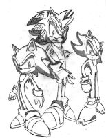 Shadic, Shadow, and Sonic by Pure2153Light