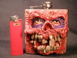 Zombie Flesh Style 6oz Flask By Undead Ed Glows in by Undead-Art