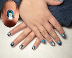 Snowman with Gradient nails by elvaniel