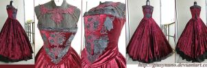 Burgundy 'Dark Rose' gothic dress by giusynuno