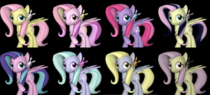 Alternate Costumes:  Fluttershy by Pika-Robo