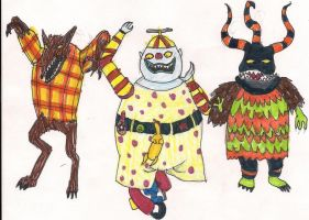 TNBC Wolfman, Clown, Harlequin demon by digirobotphantom10