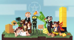 Let's Play Minecraft with the Achievement Hunters by Paperwick