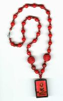 Cinnabar Buddha Necklace by johannachambers