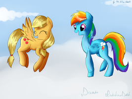Rainbow Dash and Applejack by TheElvenChudik