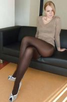 Sexy blonde pantyhose legs by JLAvenger2
