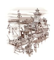 Crab Harbor Sketch by obxrussell