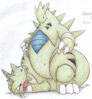 Tyranitar and Larvitar by VinVagia