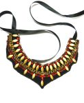 Gold Red bib collar  necklace beaded by AniDandelion
