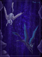 Flight at Starlit waterfall by Finchwing