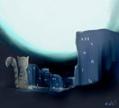 the lonely cat by kal0r