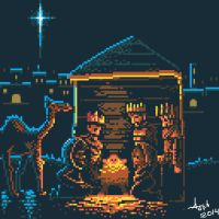 The Birth of Jesus Christ - pixel art by ArtisticWarrior0