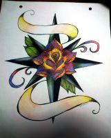 Rose Compass Full Color Old School Tattoo by Pompelina