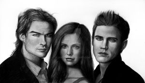 Damon, Elena and Stefan by jardc87