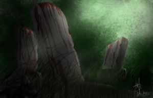 The bloody graves without name inside forest by Drewz92