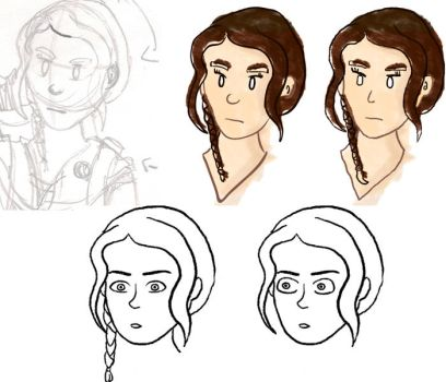 From sketch to Katniss: head by MaTn