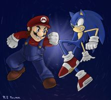 Brawl: Sonic vs. Mario by arvalis