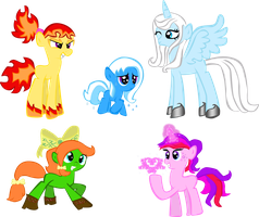 100 My Little Pony Design Challenge-1-5 Adoptables by Amy-defy