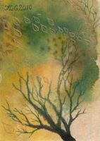 A Tree With Leaves ATC:ACEO by JLGribble