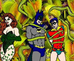 Batman and Robin trapped by Poison Ivy by holybearhug