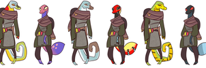 Lizard Dragonborn Concepts by deerynoise