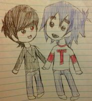 Chibish Murdoc and 2-D by Oni-the-hedgehog