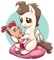 Tiny horse holding an even tinier horse by TariToons