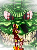 Iron-man vs. Fin Fang Foom by RoccoBertucci